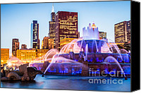 Sears Tower Canvas Prints - Chicago Skyline at Night with Buckingham Fountain Canvas Print by Paul Velgos