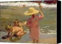1923 (oil On Canvas) Canvas Prints - Children on the seashore Canvas Print by Joaquin Sorolla y Bastida