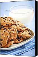 Junk Canvas Prints - Chocolate chip cookies and milk Canvas Print by Elena Elisseeva