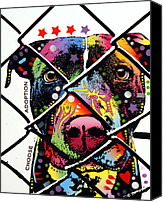 Animal Art Mixed Media Canvas Prints - Choose Adoption Pit Bull Canvas Print by Dean Russo