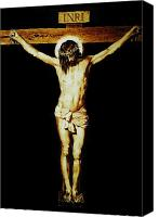 Wood Pyrography Canvas Prints - Christ on the Cross Canvas Print by Dino Muradian