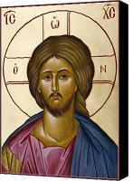 Icon Byzantine Canvas Prints - Christ Pantokrator Canvas Print by Julia Bridget Hayes