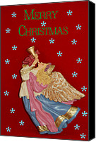 Gold Angel Card Canvas Prints - Christmas Angel Canvas Print by Aimee L Maher