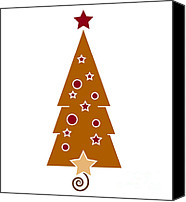 Brown Drawings Canvas Prints - Christmas Tree Canvas Print by Frank Tschakert