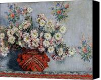 Arrangement Painting Canvas Prints - Chrysanthemums Canvas Print by Claude Monet