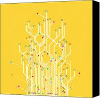 Digital Canvas Prints - Circuit Board Graphic Canvas Print by Setsiri Silapasuwanchai