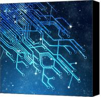 Backdrop Canvas Prints - Circuit Board Technology Canvas Print by Setsiri Silapasuwanchai