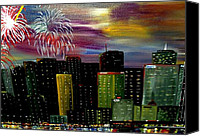 4th July Canvas Prints - City Celebration Canvas Print by Mark Moore