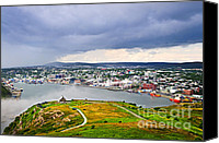 Foggy Canvas Prints - Cityscape of Saint Johns from Signal Hill Canvas Print by Elena Elisseeva