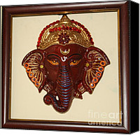 Lord Ceramics Canvas Prints - Clay Painting Canvas Print by Netra Dixit