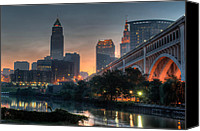 Veterans Memorial Canvas Prints - Cleveland Skyline at Dawn Canvas Print by At Lands End Photography