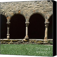 Faith Canvas Prints - Cloister of Lavaudieu. Haute Loire. Auvergne. France. Canvas Print by Bernard Jaubert