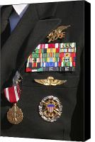 Navy Seals Canvas Prints - Close-up View Of Military Decorations Canvas Print by Michael Wood
