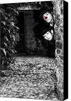 Stone Wall Canvas Prints - Clown Couple Canvas Print by Joana Kruse