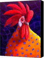 Rooster Canvas Prints - Cock A Doodle Dude Canvas Print by Catherine G McElroy