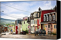 House Canvas Prints - Colorful houses in Newfoundland Canvas Print by Elena Elisseeva