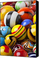 Glass Photo Canvas Prints - Colorful marbles Canvas Print by Garry Gay