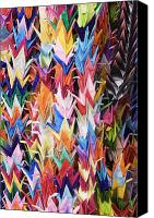 Crane Canvas Prints - Colorful Origami Cranes Canvas Print by Jeremy Woodhouse