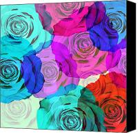 Flower Design Canvas Prints - Colorful Roses Design Canvas Print by Setsiri Silapasuwanchai