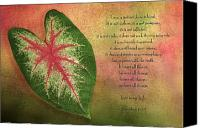 Caladium Photo Canvas Prints - 1 Corinthians 13 LOVE Canvas Print by Bonnie Barry