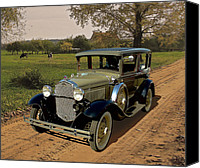 Antique Automobiles Digital Art Canvas Prints - Country Road Canvas Print by Harry West