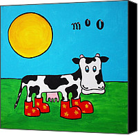 Wellington Painting Canvas Prints - Cow Canvas Print by Sheep McTavish