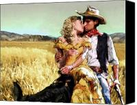 Horse Digital Art Canvas Prints - Cowboys Romance Canvas Print by Mike Massengale