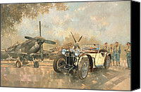 Airplane Painting Canvas Prints - Cream Cracker MG 4 Spitfires  Canvas Print by Peter Miller