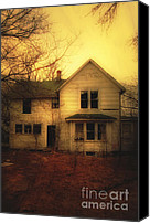 Haunted House Canvas Prints - Creepy Abandoned House Canvas Print by Jill Battaglia
