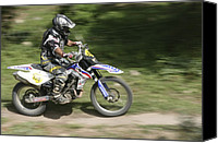 Track Racing Canvas Prints - Cross Country Motorbike Racing Canvas Print by Photostock-israel