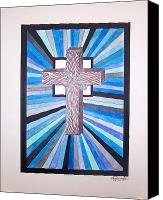 Crucifix Mixed Media Canvas Prints - Cross Crucifix Canvas Print by Woulstain Creado