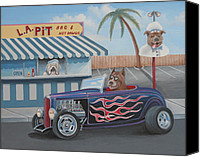 Custom Ford Painting Canvas Prints - Cruizin at da L.A. Pit Canvas Print by Stuart Swartz