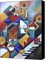 Sax Art Painting Canvas Prints - Cubist Jazz and a Real Shot of Whiskey Canvas Print by Bob Gregory