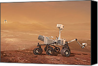 Braking Canvas Prints - Curiosity Rover On Mars, Artwork Canvas Print by Henning Dalhoff