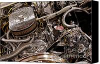 Custom Automobile Canvas Prints - Custom Car Chromed Engine Canvas Print by Oleksiy Maksymenko