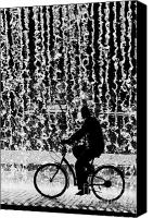 Backdrop Canvas Prints - Cycling Silhouette Canvas Print by Carlos Caetano