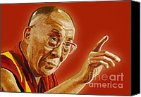 Tibetan Canvas Prints - Dalai Lama Canvas Print by Setsiri Silapasuwanchai
