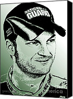 Famous Mixed Media Canvas Prints - Dale Earnhardt Jr in 2009 Canvas Print by J McCombie