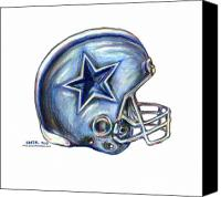 Football Drawings Canvas Prints - Dallas Cowboys Helmet Canvas Print by James Sayer