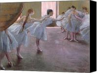 Girls Pastels Canvas Prints - Dancers at Rehearsal Canvas Print by Edgar Degas