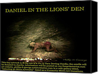 Microscopic Art Sculpture Canvas Prints - Daniel In The Lions Den Info Photo No.1  Canvas Print by Phillip H George