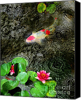 Koi Art Canvas Prints - Dark rain Canvas Print by Gina Signore