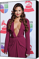 Wavy Hair Canvas Prints - Demi Lovato Wearing A Roland Mouret Canvas Print by Everett