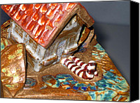 House Ceramics Canvas Prints - DETAIL House that Fell on Wicked Witch Treasure Chest Canvas Print by Chere Force