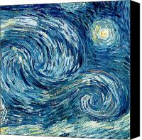 Starry Painting Canvas Prints - Detail of The Starry Night Canvas Print by Vincent Van Gogh
