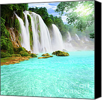 Vietnam Canvas Prints - Detian waterfall Canvas Print by MotHaiBaPhoto Prints