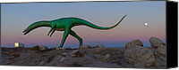 66 Canvas Prints - Dinosaur Loose on Route 66 Canvas Print by Mike McGlothlen