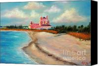 Beach Scenes Pastels Canvas Prints - Don Cesar Hotel Canvas Print by Gabriela Valencia