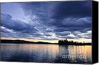 Tranquil Canvas Prints - Dramatic sunset at lake Canvas Print by Elena Elisseeva