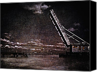 Signed Canvas Prints - Drawbridge at Night Canvas Print by Skip Nall